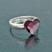Bague Coeur en Argent et Cristal Rose Antique