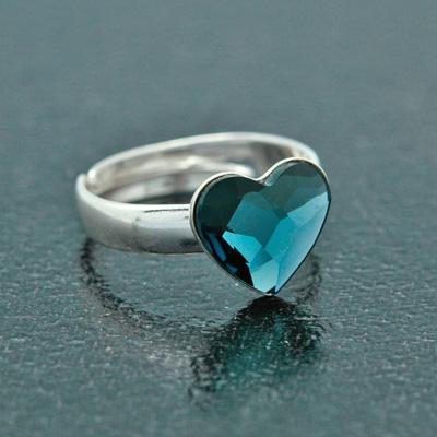 Bague en Cristal et Argent Bague Coeur en Argent et Cristal Denim Blue