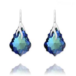 Boucles d'Oreilles Éclair Baroque en Argent et Cristal Bleu Bermude