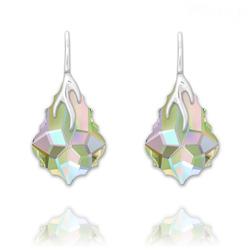 Boucles d'Oreilles Éclair Baroque en Argent et Cristal Paradise Shine