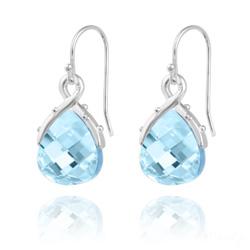 Boucles d'Oreilles Goutte en Argent et Cristal Bleu