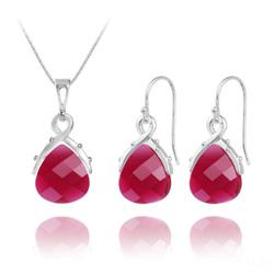 Parure Goutte en Argent et Cristal Ruby