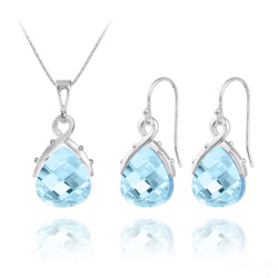 Parure Goutte en Argent et Cristal Bleu