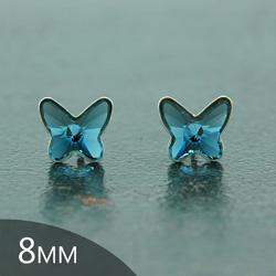 Clous d'Oreilles Papillon en Argent et Cristal Denim Blue