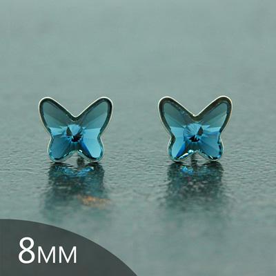 Clous d'Oreilles en Cristal et Argent Clous d'Oreilles Papillon en Argent et Cristal Denim Blue