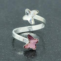 Bague 2 Papillons en Argent et Cristal Antique Pink / Blanc