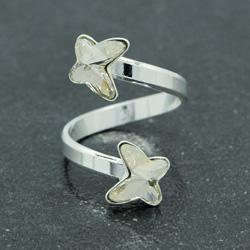 Bague 2 Papillons en Argent et Cristal Silver Shade