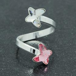 Bague 2 Papillons en Argent et Cristal Light Rose / Blanc