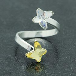 Bague en Cristal et Argent Bague 2 Papillons en Argent et Cristal Jaune / Blanc