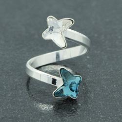Bague 2 Papillons en Argent et Cristal Denim Blue / Blanc