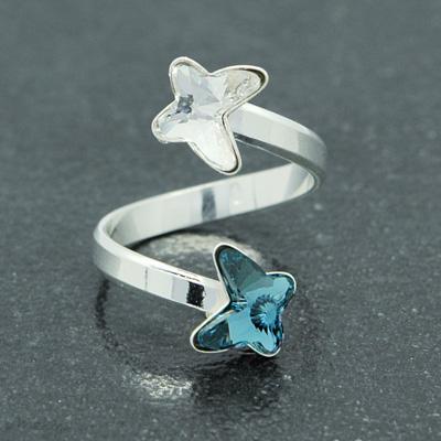 Bague en Cristal et Argent Bague 2 Papillons en Argent et Cristal Denim Blue / Blanc