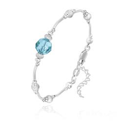 Bracelet en Argent et Perle 8MM de Cristal Bleu