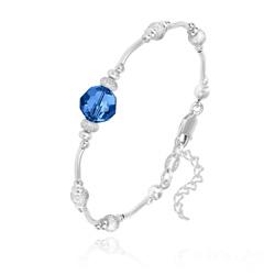 Bracelet en Argent et Perle 8MM de Cristal Capri Blue