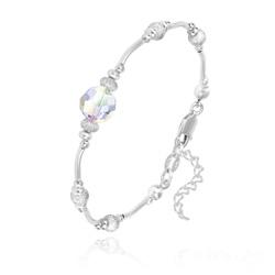 Bracelet en Argent et Perle 8MM de Cristal Aurore Boréale