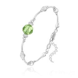 Bracelet en Argent et Perle 8MM de Cristal Vert Péridot