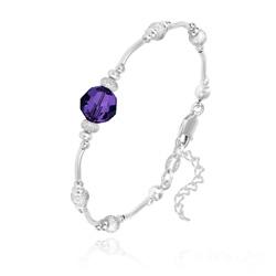 Bracelet en Argent et Perle 8MM de Cristal Purple Velvet