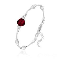 Bracelet en Argent et Perle 8MM de Cristal Rouge Siam