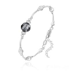 Bracelet en Argent et Perle 8MM de Cristal Silver Night