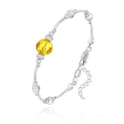 Bracelet en Argent et Perle 8MM de Cristal Jaune Sunflower