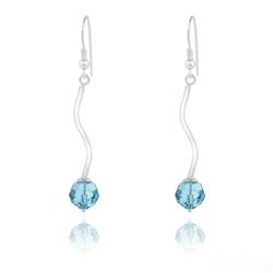 Boucles d'Oreilles en Argent Torsadé et Perle de Cristal Bleu