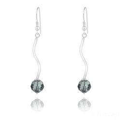 Boucles d'Oreilles en Argent Torsadé et Perle de Cristal Black Diamond