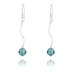 Boucles d'Oreilles en Argent Torsadé et Perle de Cristal Bleu Zircon