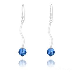 Boucles d'Oreilles en Argent Torsadé et Perle de Cristal Capri Blue