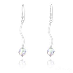 Boucles d'Oreilles en Argent Torsadé et Perle de Cristal Aurore Boréale