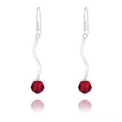Boucles d'Oreilles en Argent Torsadé et Perle de Cristal Rouge Light Siam