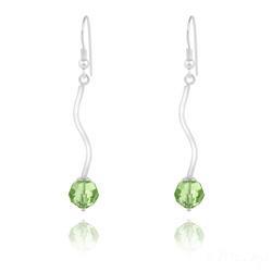 Boucles d'Oreilles en Argent Torsadé et Perle de Cristal Vert Péridot
