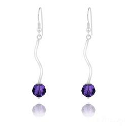 Boucles d'Oreilles en Argent Torsadé et Perle de Cristal Purple Velvet