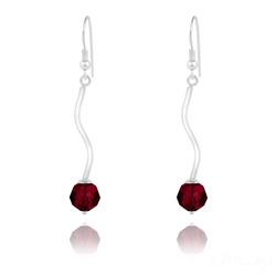 Boucles d'Oreilles en Argent Torsadé et Perle de Cristal Rouge Siam