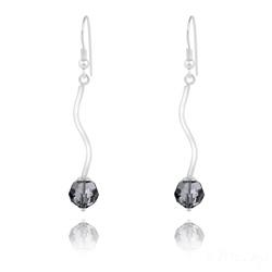 Boucles d'Oreilles en Argent Torsadé et Perle de Cristal Silver Night