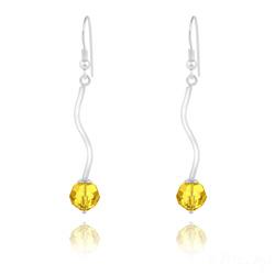 Boucles d'Oreilles en Argent Torsadé et Perle de Cristal Jaune Sunflower