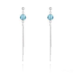 Boucles d'Oreilles Pompon Pearl en Argent et Cristal Bleu