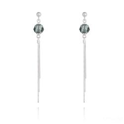 Boucles d'Oreilles Pompon Pearl en Argent et Cristal Black Diamond