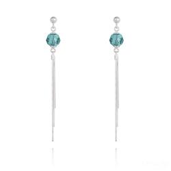 Boucles d'Oreilles Pompon Pearl en Argent et Cristal Bleu Zircon