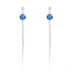 Boucles d'Oreilles Pompon Pearl en Argent et Cristal Capri Blue