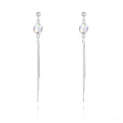 Boucles d'Oreilles Pompon Pearl en Argent et Cristal Aurore Boréale