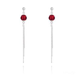Boucles d'Oreilles Pompon Pearl en Argent et Cristal Rouge Light Siam