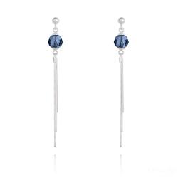 Boucles d'Oreilles Pompon Pearl en Argent et Cristal Bleu Montana