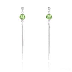 Boucles d'Oreilles Pompon Pearl en Argent et Cristal Vert Péridot