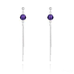 Boucles d'Oreilles Pompon Pearl en Argent et Cristal Purple Velvet