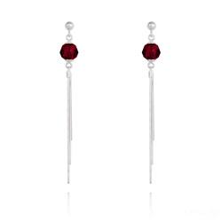 Boucles d'Oreilles Pompon Pearl en Argent et Cristal Rouge Siam