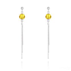 Boucles d'Oreilles Pompon Pearl en Argent et Cristal Jaune Sunflower