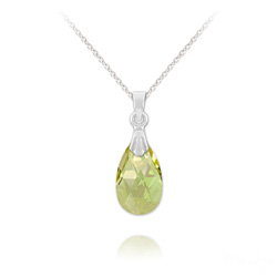 Collier Mini Goutte 16mm en Argent et Cristal Luminous Green