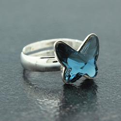 Bague en Cristal et Argent Bague Papillon 12mm en Argent et Cristal Denim Blue