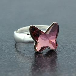 Bague en Cristal et Argent Bague Papillon 12mm en Argent et Cristal Rose Antique
