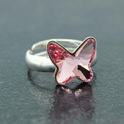 Bague en Cristal et Argent Bague Papillon 12mm en Argent et Cristal Rose Clair