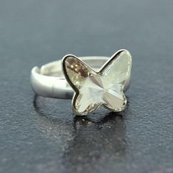Bague Papillon 12mm en Argent et Cristal Silver Shade